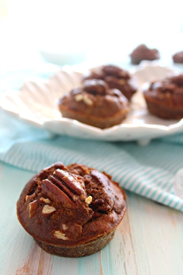 Banana Pecan & Cinnamon Muffins. The BEST banana muffins you'll ever have. Sugar Free recipe! Easy to make. Everyone will love these! | berrysweetlife.com