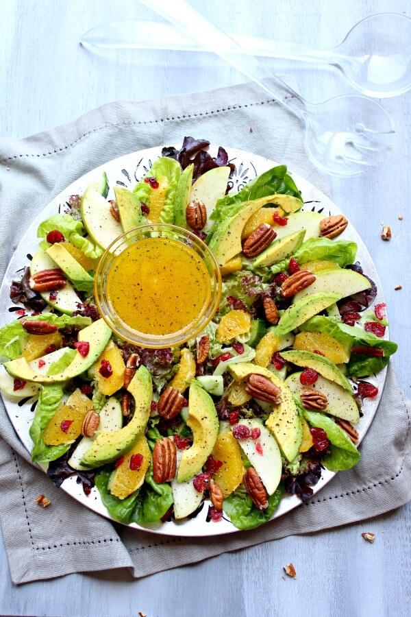 Salads For Christmas.Pecan Cranberry Avocado Salad With Orange Dressing