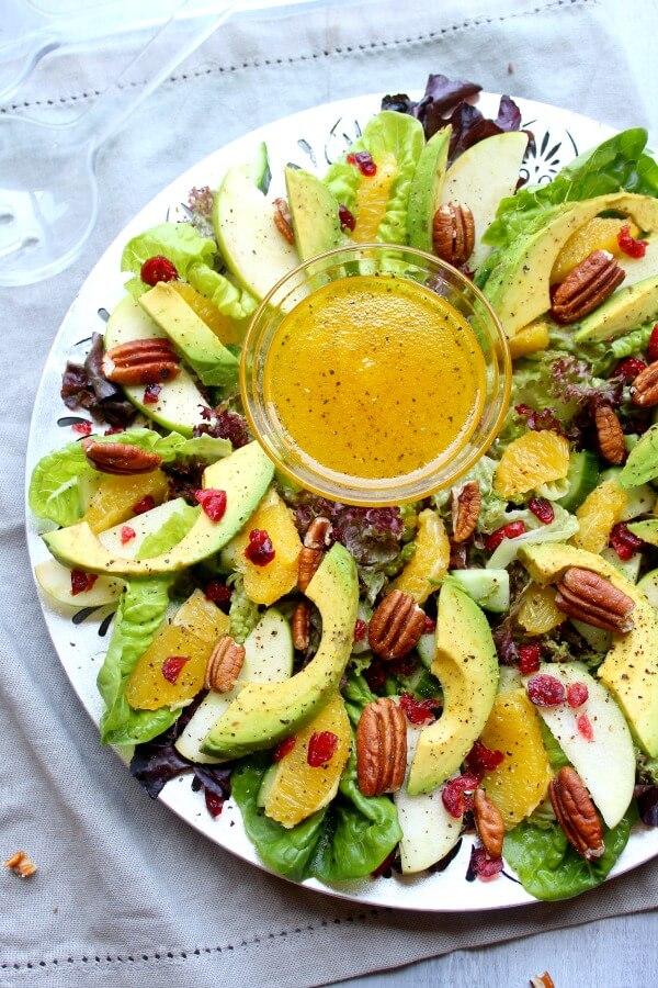 Christmas Salad Recipes.Pecan Cranberry Avocado Salad With Orange Dressing