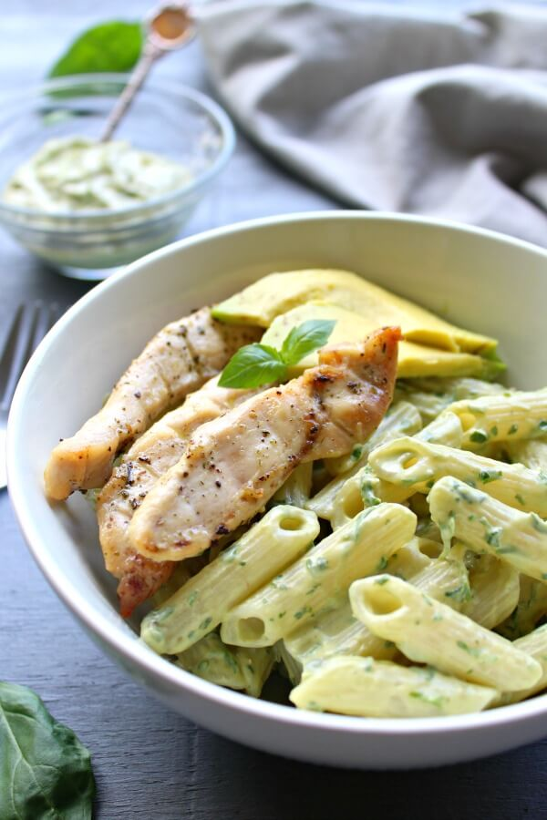 Chicken Pasta with Herby Avocado Pesto Sauce. A delicious, quick and easy weeknight meal - 30 minutes from prep to table. Healthy, tasty and satisfying | berrysweetlife.com