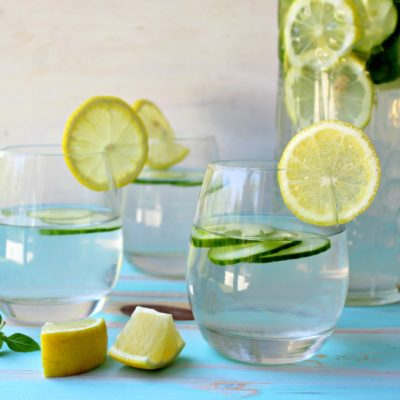 Lemon Basil Cucumber Infused Water