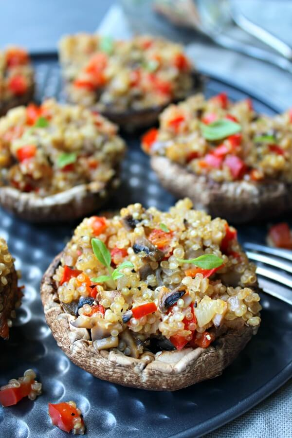 Pepper Quinoa Stuffed Giant Mushrooms. Fragrant, delectable & oh so healthy! Perfect as a side dish or a light meal they take only 35 minutes to make! | berrysweetlife.com