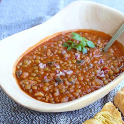 Vegetarian Tomato Mushroom Lentil Ragout