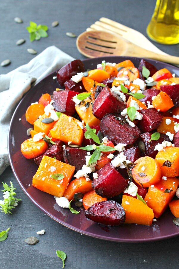 Low carb and easy to make, packed with nutrients, this Roast Beet Butternut Basil Goat Cheese Salad is a delicious side dish or light vegetarian meal | berrysweetlife.com