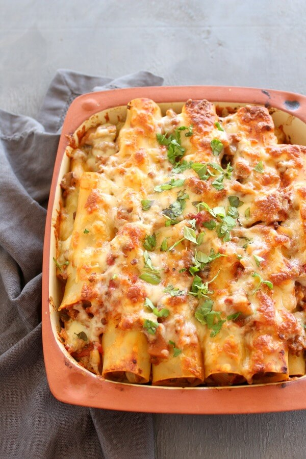 Easy Aubergine Beef Cannelloni. Tasty, comforting and full of veggies, this is a hearty winter meal the whole family will love! | berrysweetlife.com
