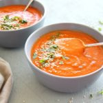 Nutritious Red Pepper Carrot Soup. Quick and easy, bursting with flavour, colour, vitamins and minerals, you can't go wrong with this delicious soup! | berrysweetlife.com