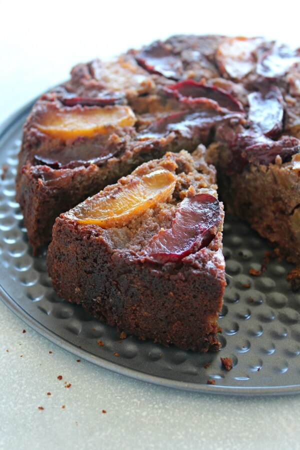 No sugar, gluten or dairy - this vegan Stone Fruit Apple Date Brunch Cake is easy to make,  healthy, full of fresh fruit and bursting with flavour! | berrysweetlife.com