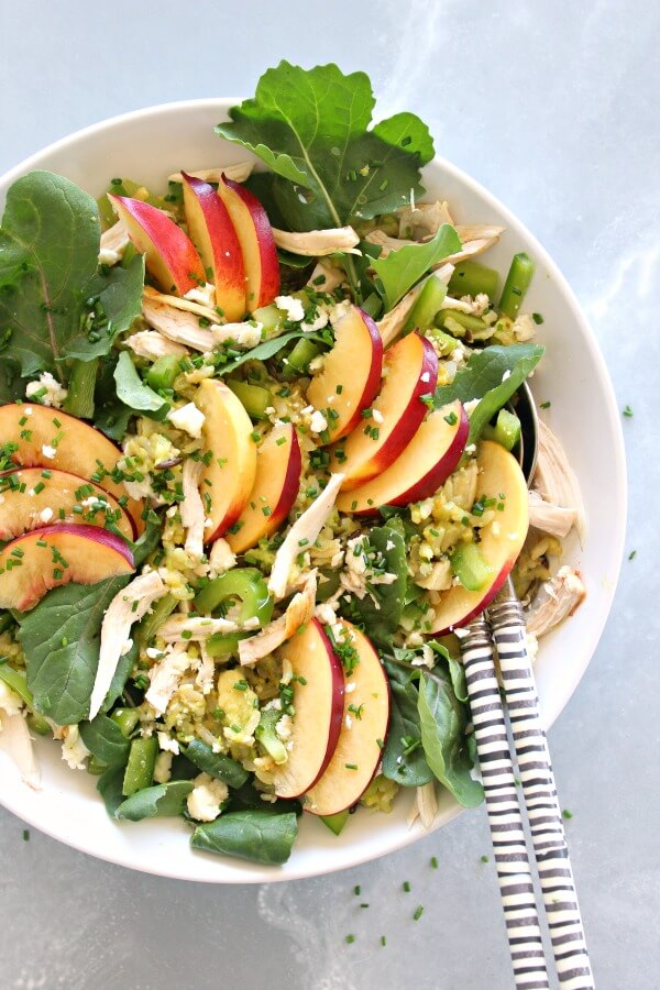 15 minute Avocado-Wild Rice Nectarine Chicken Salad tastes wonderful, is creamy and healthy! Serve it as a salad or in a wrap or pita bread for lunch | berrysweetlife.com