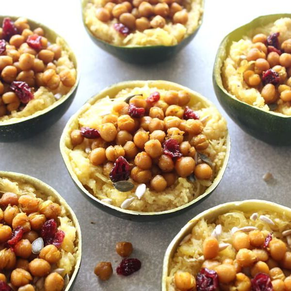 Couscous Stuffed Gem Squash With Roasted Chickpeas