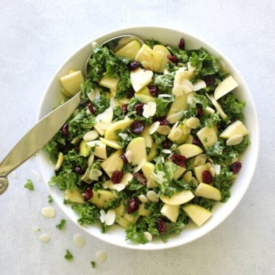 Kale Apple Cranberry Salad With Sesame Dressing