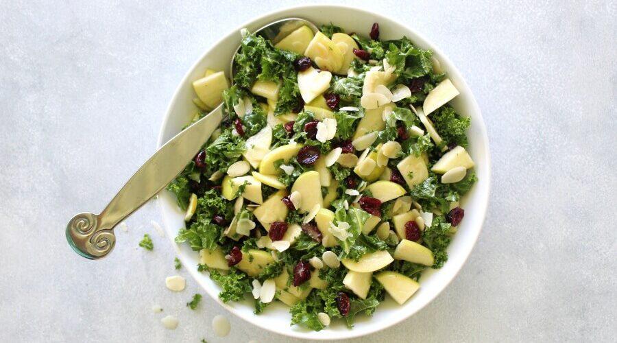 Kale Apple Cranberry Salad With Sesame Dressing
