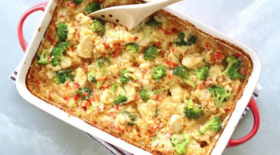 Mustard Chicken Quinoa Red Pepper Casserole