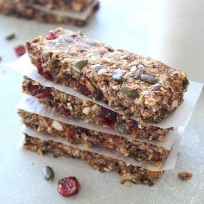 Super Seedy Almond Cranberry Granola Bars