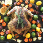 Healthy Lemon Herb Roast Chicken And Veggies recipe delivers crispy skin, juicy, tender and tasty meat with wonderful lemon, rosemary and garlic flavours! | berrysweetlife.com