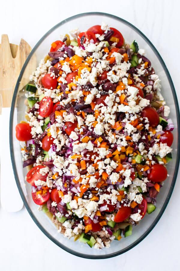 Mediterranean Tuna Chickpea Pasta Salad   berrysweetlife.com
